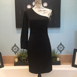 Maggy London Sexy Black One Sleeve Dress Size 6
